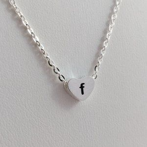 Jewelry - Letter F heart love necklace silver tone new